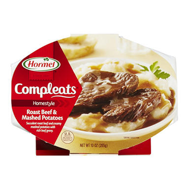 Hormel Compleats Roast Beef and Mashed Potatoes - 10. oz. Bowl - 6 ct.