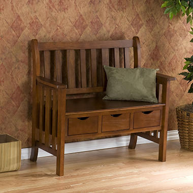 Country 3-Drawer Oak Bench