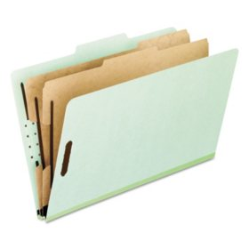 Pendaflex 6-Section Pressboard Classification File Folders, Grey Green (Letter, 10 ct.)