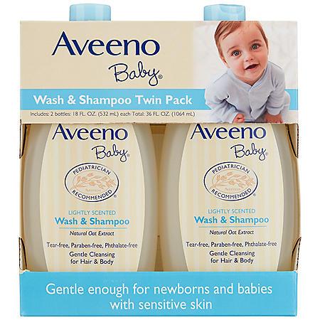 Aveeno Baby Wash & Shampoo (18 fl. oz., 2 pk.)