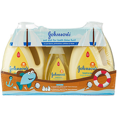 Johnson's Baby Head-to-Toe Wash & Shampoo (2 - 33.8 fl. oz., 1 - 10.2 fl. oz.)