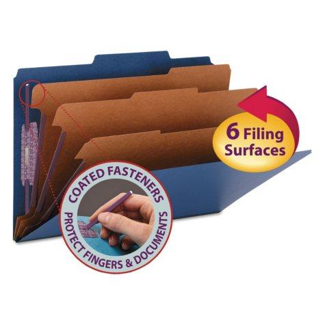 "Smead 3"" Expansion Classification Folder, 2/5 Cut, 8-Section, Legal, Dark Blue, 10ct."