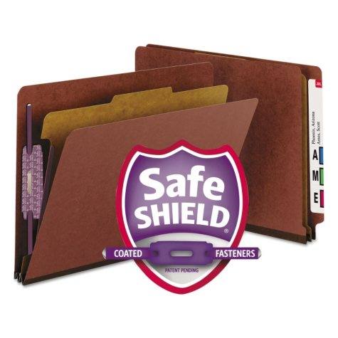 Smead End Tab Pressboard Classification Folder, Four Sections, Letter, Red, 10ct.