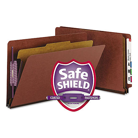 Smead End Tab Pressboard Classification Folder, Four Sections, Legal, Red, 10ct.