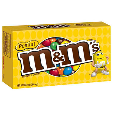 M&M's Peanut Milk Chocolate Candies, Theater Box (3.4 oz. box , 12 ct.)