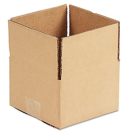 "General Supply Brown Corrugated - Fixed-Depth Shipping Boxes, 6"" L x 6"" W x 4"" H, 25/Bundle"