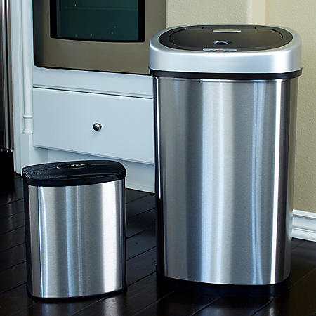 Nine Stars Stainless Steel Sensor Trash Can Set - 13.2 gal. / 2.1 gal.
