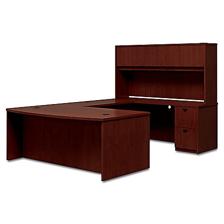 "basyx 72"" BL Laminate Series Bow Top U-Workstation with Stack-on Storage, Mahogany"