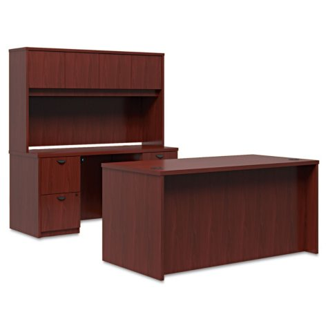 "basyx 60"" BL Laminate Series Desk & Credenza Workstation with Stack-on Storage, Mahogany"
