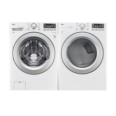LG Ultra-Large-Capacity Front-Load Washer and Gas Dryer Bundle - White