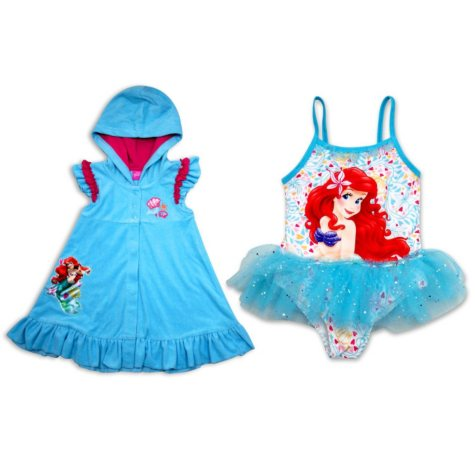 Girls' Ariel Swimsuit with Matching Cover-Up
