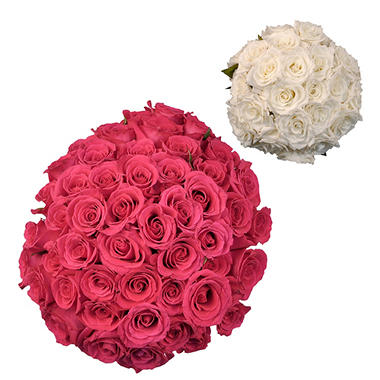 Roses - Wedding Pack Hot Pink & White (75 stems)