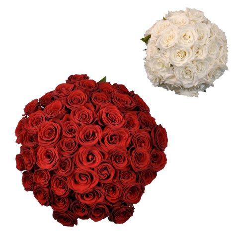 Roses - Wedding Pack Red & White (75 stems)