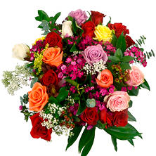 Individually Sleeved Roses with Filler, Assorted Colors (25 bouquets)