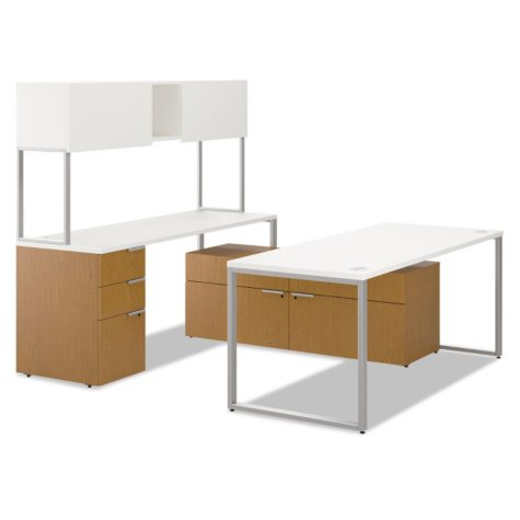 """Hon Voi Series 72"""" U-Station with Low Credenza & Overhead Cabinet, Silver Mesh/Harvest"""