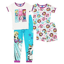 Girls' Frozen Trio 4-Piece Cotton Pajama Set