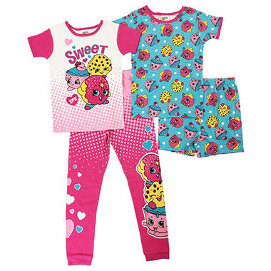 Girls' Shopkins 4-Piece Cotton Pajama Set