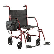 Medline Steel Transport Chair, Burgundy