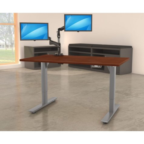 "Lorell Quadro 50"" x 72""  Electric Height-Adjustable Table with Black Base, Mahogany"