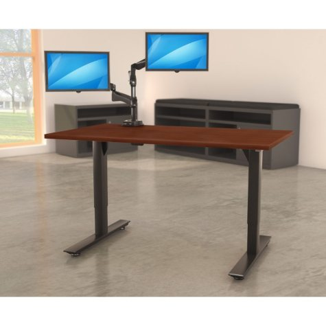 "Lorell Quadro 46"" x 72""  Electric Height-Adjustable Table with Black Base, Mahogany"