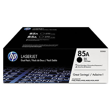 HP 85A Original Laser Jet Toner Cartridge, Black (1,600 Yield) - 2 Pack