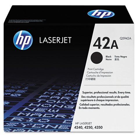 HP 42 Original Laser Jet Toner Cartridge, Black, Select Type