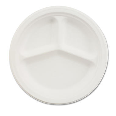 Chinet 3-Compartment Paper Plate, 10 1/4