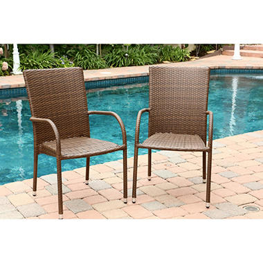 Newport Set Of 2 Outdoor Wicker Dining Arm Chairs, Brown