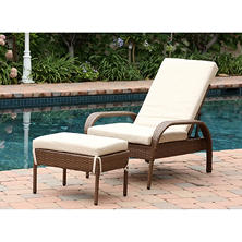 Kingsley Outdoor Wicker Chaise Lounge with Cushion, Brown
