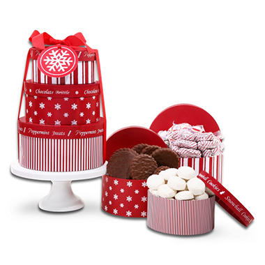 Alder Creek Holiday Gift Tower on Cake Plate