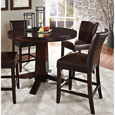 Harding Counter Height Dining Set   3 Pc.   Dark Brown Leather Chairs