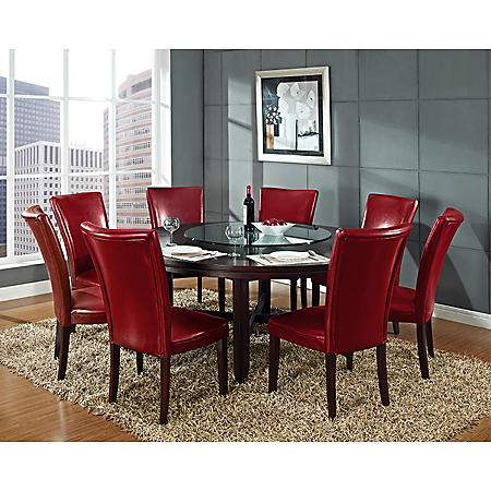 """Harding 72"""" Round Dining Set - 9 pc. -  Red Leather Chairs"""