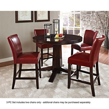Harding Counter Height Dining Set   3 Pc.   Red Leather Chairs