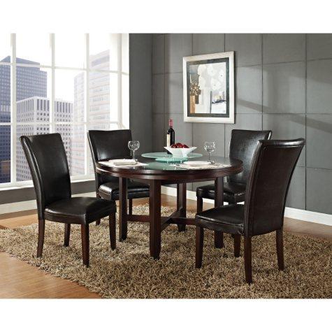 "Harding 72"" Round Dining Set - 5 pc. -  Dark Brown Leather Chairs"
