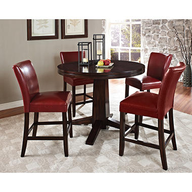 Harding Counter Height Dining Set   5 Pc.   Red Leather Chairs