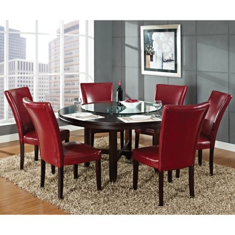"""Harding 62"""" Round Dining Set - 7 pc. - Red Leather Chairs"""