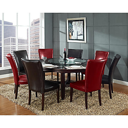 """Harding 72"""" Round Dining Set - 9 pc. - 4 Dark Brown and 4 Red Leather Chairs"""