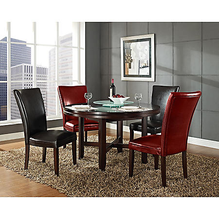 """Harding 62"""" Round Dining Set - 5 pc. -  2 Dark Brown and 2 Red Leather Chairs"""