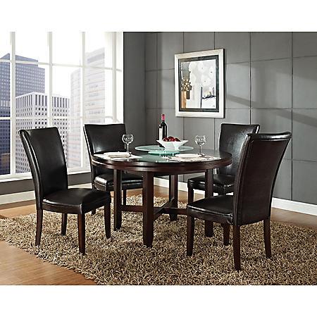 "Harding 62"" Round Dining Set - 5 pc. -  Dark Brown Leather Chairs"