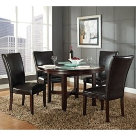 Harding 52 Round Dining Set 5 Pc Dark Brown Leather Chairs