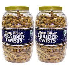 Utz Honey Wheat Braided Twists Pretzel Barrels 56 oz. (2 pk.)