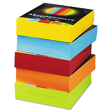 "Astrobrights Color Paper, 8.5"" x 11"", 24 lb/89 gsm, Mixed Carton 5-Color Assortment, 2500 Sheets"