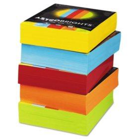 """Astrobrights Color Paper, 8.5"""" x 11"""", 24 lb/89 gsm, Mixed Carton 5-Color Assortment, 2500 Sheets"""