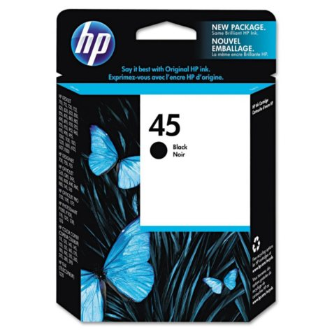 HP 45 Original Ink Cartridge, Black (930 Page Yield)