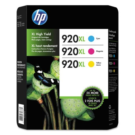 HP 920XL High Yield Original Ink Cartridge, Cyan/Magenta/Yellow, 3 Pack, 700 Page Yield
