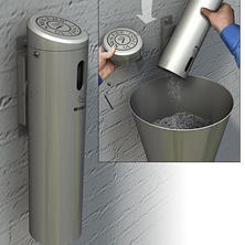 Swivel-Lock Wall Mounted Cigarette Receptacle - Silver
