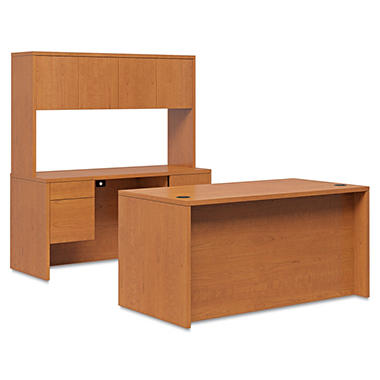 Hon 10500 Series 72' Desk & Credenza Workstation, Mahogany