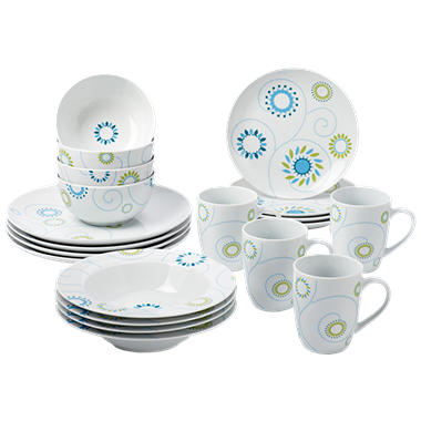 Rachael Ray 20 Piece Pinwheel Dinnerware Set - Blue/Green