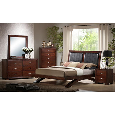 Zoe Bedroom Set with Padded Headboard (Choose Size)