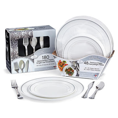 Masterpiece and Reflections Premium Plastic Disposable Dining Set ...
